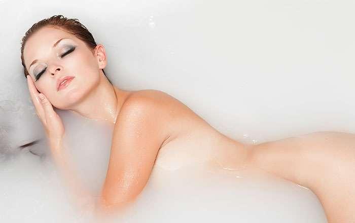 Beautiful women naked shoulders cosmetics skin stock photo